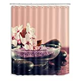 LB Zen Fabric Shower Curtain,3D Printing Orchid Buddhism Meditation Spa Shower Curtain 72 x 72 Inch Mildew Resistant Waterproof Fabric Bathroom Decor with Hooks, Pink Grey