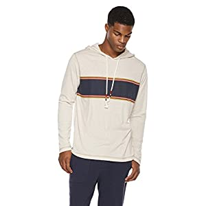 Rebel Canyon Young Men's Printed Baja Stripe Knit Jersey Pullover Hoodie Long-Sleeve Tee X-Large Oatmeal Heather