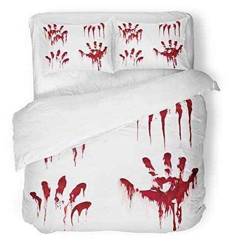 Emvency 3 Piece Duvet Cover Set Breathable Brushed Microfiber Fabric Red Splatter Bloody Hand White Horror Scary Blood Dirty Handprint and Fingerprint Bedding with 2 Pillow Covers Full/Queen Size -