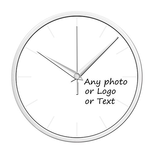 Blank Clock (Leecum Customized Products-Add Your Design in the Wall Clock Silent Metal Non-Ticking 10 Inch or 12 Inch or 14 Inch White Black Silver  Decorations for Office Kitchen Living Room Bedroom)