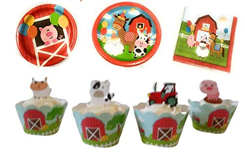 Farm Animals Birthday Party Supplies Set- Farm Birthday Party Decorations Animal Birthday Party Farm Party 106 Pieces -