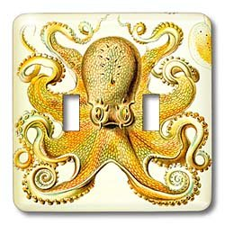 Toggle Light Switch Cover - 3dRose LLC lsp_123247_2 Famous Vintage Haeckel Image of Octopus Double Toggle Switch