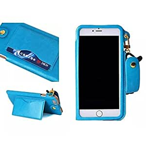 JOE PU Leather Full Body Cover with Card Slot and Wallet and Stand for iPhone 6 Plus (Assorted Colors) , Blue