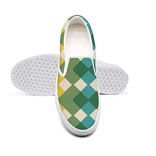 Womens Lazy Canvas Slip-On Shoes Rhombus Colorful Checkered Original Cycling Sneakers]()