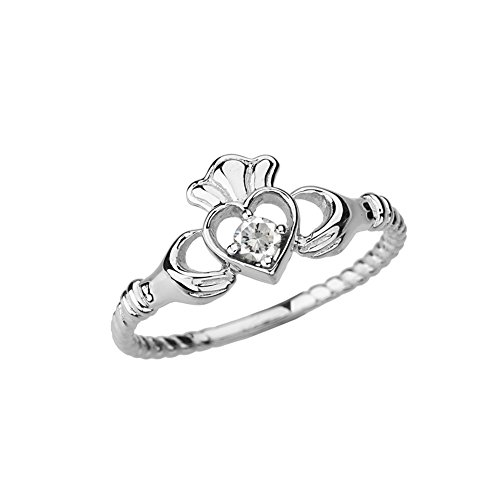 Dainty 10k White Gold Open Heart Solitaire Diamond Rope Claddagh Promise Ring (Size 6)