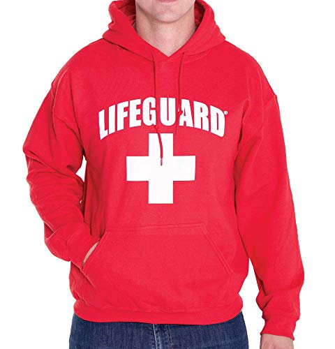 Hoodie Red Apparel - LIFEGUARD Officially Licensed First Quality Pullover Hoodie Sweatshirt Apparel Unisex for Men Women (Red, Small)