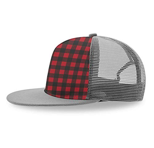 YongColer Custom Rustic Red Black Buffalo Check Plaid Baseball Cap Slouch Hat for Kids Toddlers Child, Relaxed Fit Snapback Hat Baseball Bucket Cap Runner Cap, Foldable Fast Dry Hip-Hop Trucker Hat