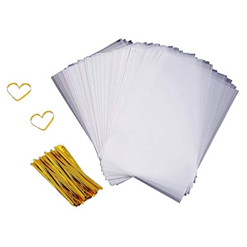 Cellophane Bags 200 PCS Clear Cello Treat Bags Party Favor Bags for Gift Bakery Cookies Candies Dessert with 200 PCS Metallic Twist Ties (4