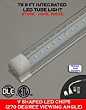 (Pack of 10 Lights) T8 Integrated 8 Feet 72 Watt ETL DLC Listed V Shaped 9200 Lumens (270 Degrees Viewing Angle) 5700K Clear Lens Plug and Play Tube Light for Cooler Freezer