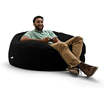 Big Joe Lux Large Fuf Foam Filled Bean Bag Chair Ripple Black