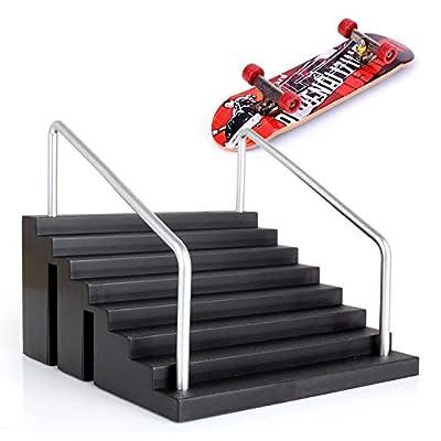Alasida Mini Finger Skateboard Park Skate Park Kit Ramp Parts Skate Board with Ramp Board for Child and Adult, Random Pattern: Toys & Games