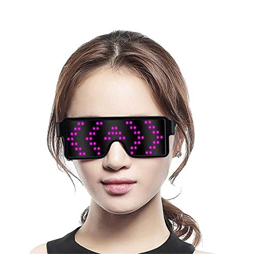 Keweis LED Glasses Grow Party Favor, USB Charging Glasses Rechargeable with LED Display, 8 Pattern Optional, Nightclub, Christmas, Birthday Party Supplies (Pink)