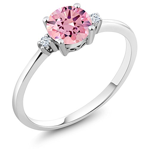 Gem Stone King 10K White Gold Engagement Solitaire Ring set with 1.53 Ct Round Pink Zirconia and White Created Sapphires (Size 6)