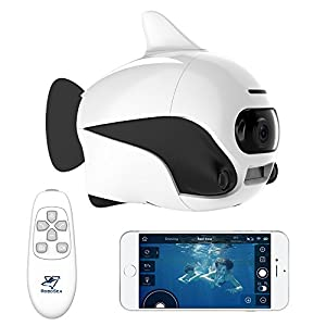 Robosea BIKI, Submersible Wireless Remote Control Underwater Drone with 4K HD Camera, WIFI Connection Bionic Design Fish Robot Pet in Pools Lakes, White