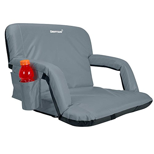 Driftsun Extra Wide Deluxe Reclining Stadium Seat, Bleacher Chair with Back Support, Folding Sport Chair Reclines Perfect for Bleachers Lawns and Backyards, Expanded Width, Grey