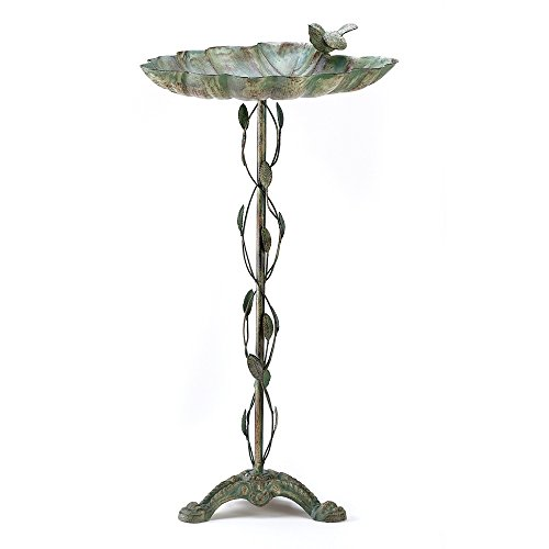 Bird Bath, Antique Iron Verdigris Decorative Rustic Bird Bath with ()