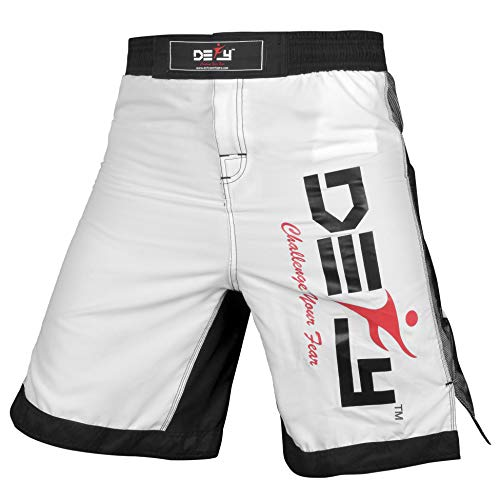 Ufc Cage Fighter - DEFY Xtreme MMA Fight Shorts UFC Cage Fight Grappling Muay Thai Kickboxing White (Small)