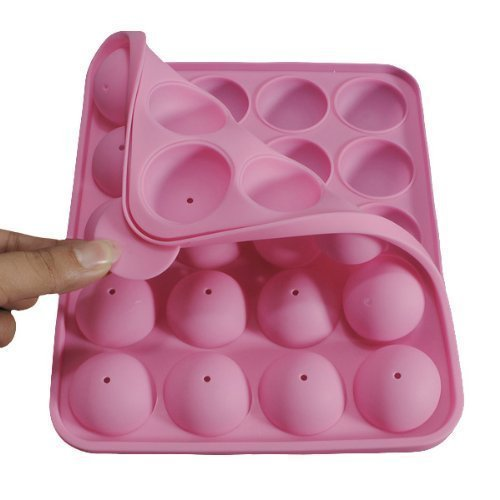 Eruner [Cake Pop Molds] 20 Round Shapes Silicone Lollipop Mold Tray Pop Cake Stick Mould for Party Holidays Cupcake Baking (Pink) (Cake Pop Molds)