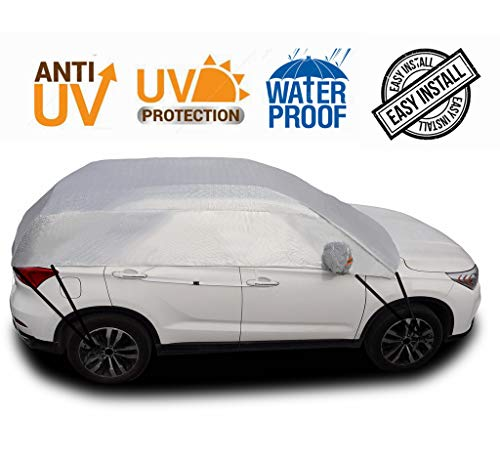 Safe View Half Car Cover Top Waterproof All Weather/Windproof/Dustproof/Windshield Cover Snow Ice Winter Summer for Sedan SUV (SUV YM(171'-183')