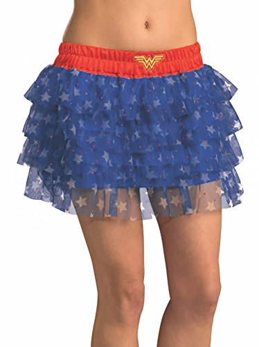 Running Superhero Costumes (Rubie's Secret Wishes  DC Comics Justice League Superhero Style Adult Skirt with Sequins Wonder Woman, Red, One)