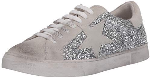 STEVEN by Steve Madden Women's Rubie Sneaker, Silver Glitter, 6 M US