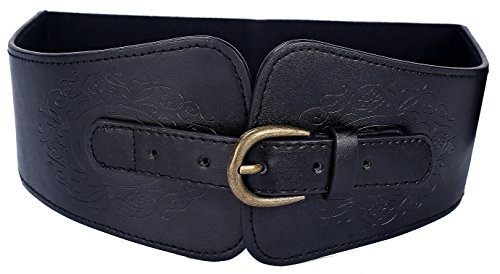 Leather Cinch Belt (LVGE Women's Leather Retro Flower Embossing Elastic Stretch Cinch Waist Belt)