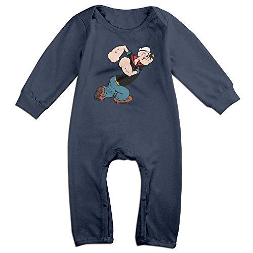 Kids Popeye The Sailor Logo Baby Bodysuits Little Boys Girls 100% Cotton Long Leg Rompers 12 Months (Baby Popeye)