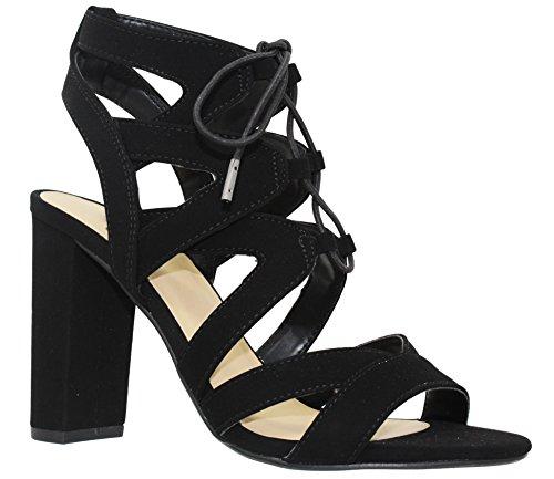 MVE Shoes Women's Lace Up Cage Gladiator Block Heel Dress Sandal, Black 7.5 (Black Cut Out Lace Up Platform Heels)