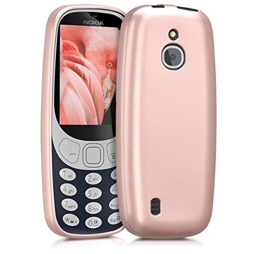 kwmobile TPU Silicone Case for Nokia 3310 3G 2017 / 4G 2018 - Soft Flexible Shock Absorbent Protective Phone Cover - Metallic Rose Gold