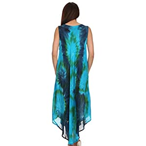 Sakkas 00831 Starlight Caftan Tank Dress / Cover Up - Turquoise / Blue - One Size