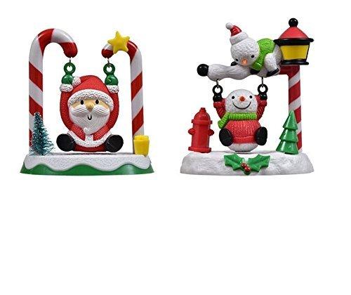 Solar Powered Swinging Santa and Swinging Snowman set (2 Pack)