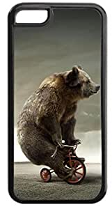 Bear on a Unicycle- Case for the APPLE 4, 4s-Hard Black Plastic Outer Case with Tough Black Rubber Lining