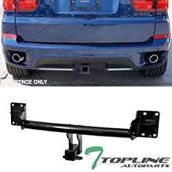 """Topline Autopart Class 3 III Black 2"""" Rear Bumper Trailer Tow Hitch Towing Mount Receiver Tube For 07-18 BMW X5 E70 / F15 / 14-18 X6 F86"""