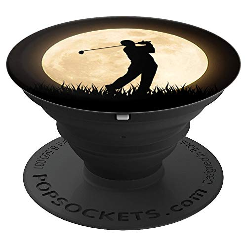 (Full Moon Golfer Player Swinging Silhouette - PopSockets Grip and Stand for Phones and Tablets)