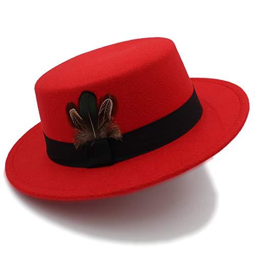 ZLFQQQ New Pork Pie Hat Men Tan Wool Fedora Hats Winter Bowler Women Brown Felt Fedoras Hat Ribbon Bowknot Top Woolen Caps Wholesale Wide Brim Hat (Color : Red, Size -