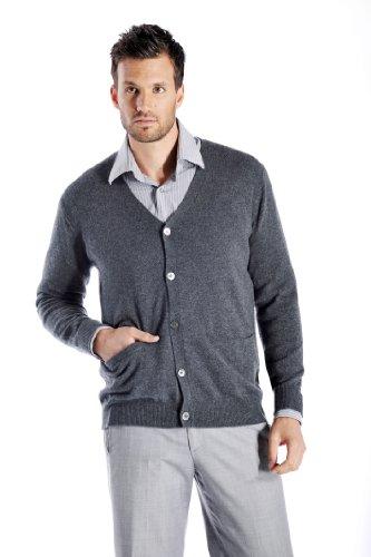 Cashmere Boutique: Men's 100% Pure Cashmere Cardigan Sweater (Color: Medium Gray, Size: Extra Large)