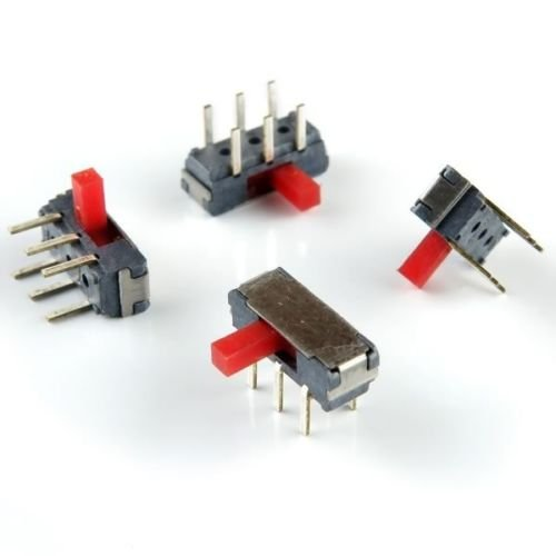 (HY #37) 12pcs Miniature Slide Switches (tiny), DPDT, Right Angle for pcb mounting
