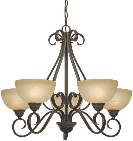 Golden Lighting 1567-5 PC Riverton Five Light Chandelier, Peppercorn Finish
