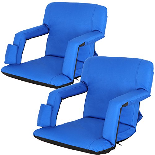 ZENY Set of 2 Portable Extra Wide Stadium Seat Chair Bleachers Benches,Folding Reclining Seat Bleachers 5 Positions,Padded Cushion Backs Armrest Support Bottle Pocket (Blue) ()