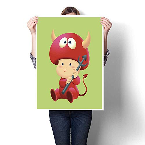 homecoco Wall Art Oil Paintings Cute Baby Costume Halloween Devil Decorative Fine Art Canvas Print Poster W 16