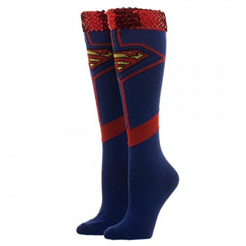 DC Comics Superman Suit Sequin Cuff Knee High Socks -