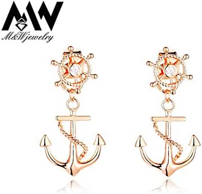 Chokushop New Rudder Anchor Stud Earrings Gold Plated Front and Back Double Sided Earrings for Women
