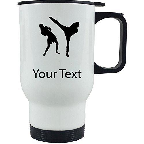 Personalized Custom Muay Thai 14 oz White Stainless Steel Coffee Travel Mug by Mugsan