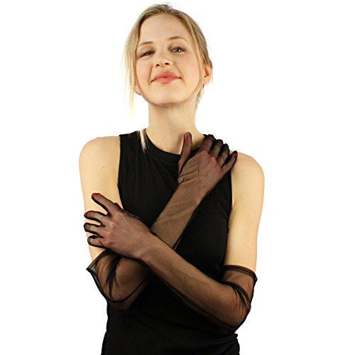 Elegant 1930s Sheer Transparent Sexy Stretchy Opera Length Evening Gloves Black (Black Gloves Nylon Sheer)