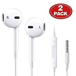 [2Pack] Wire Headphones earbuds with Mic earphones and Remote Control for Apple iPhone/iPod/iPad/Samsung Galaxy (White)