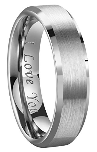 - CROWNAL 4mm/6mm/8mm Tungsten Couple Wedding Bands Rings Men Women Brushed Finish Beveled Edges Engraved I Love You Size 4 To 17 (6mm,9)