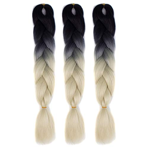 Lowprofile Long Braid Ponytail Extension Synthetic Clip in Long Braid Wavy Party Wigs Multicolor Ombre -