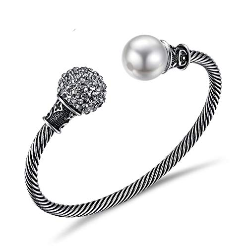 HUSHOUZHUO Vintage Silver Color Bangles for Women Simulated Pearl Twisted Bracelet & Bangles Rhinestone Ball Retro Jewelry