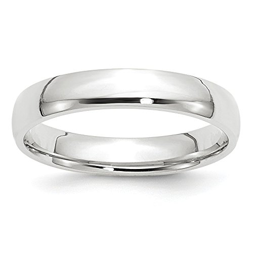 (JewelrySuperMart Collection 10k White Gold 4mm Plain Classic Comfort-fit Wedding Band - Size 9)