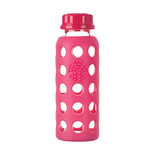 Lifefactory 9-Ounce BPA-Free Glass Baby Bottle with Flat Cap and Protective Silicone Sleeve, Raspberry
